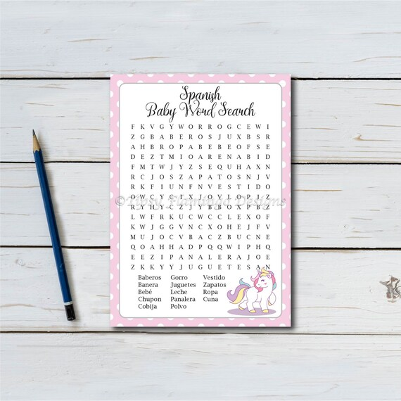 graphic relating to Spanish Word Searches Printable identify Phrase Glance, Spanish, Little one Shower, Kid Shower Recreation, Purple, Poka Dots, Unicorn, Child, Child Lady, Español, Printable, Instantaneous Down load T161B