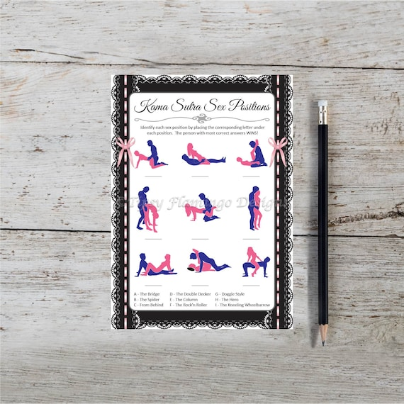 Pink and White Guess The Sex Positions Instant Download T113B Bachelorette Party Game Printable Guess The Kama Sutra Positions Naughty