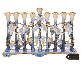 Hand Painted Blue and Ivory Tulip Menorah Candelabra w Gold Accents, Crystals Jewish Candle Holder Hanukkah Gift for Housewarming by Matashi