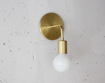 Modern Brass Sconce - Roy - Simple wall light - Mid century modern - Danish modern - Minimalist - bedside light