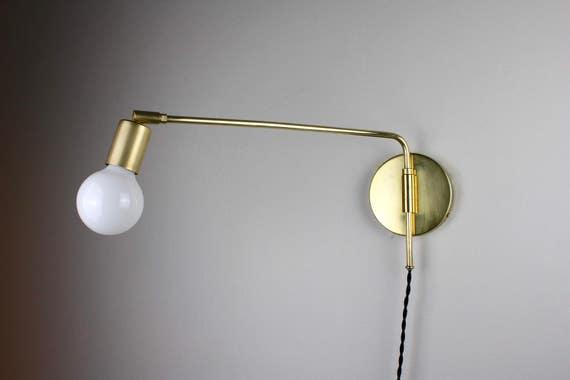 Swing Arm Sconce Arthur Plug In Wall Sconce Swing Arm Lamp Brass Light Brass Wall Lamp Modern Wall Sconce