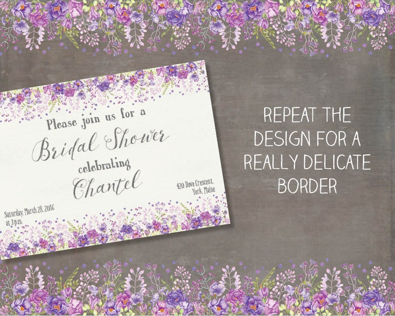 hand painted mixed purple blooms; watercolor clip art; wedding clip art instant download Watercolor floral border