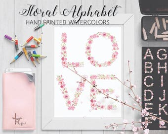 Alphabet in pink floral watercolors: complete A - Z; hand painted watercolors; watercolor clip art; instant download