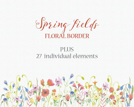 Watercolor Floral Clip Art Border Of Spring Flowers Plus Etsy