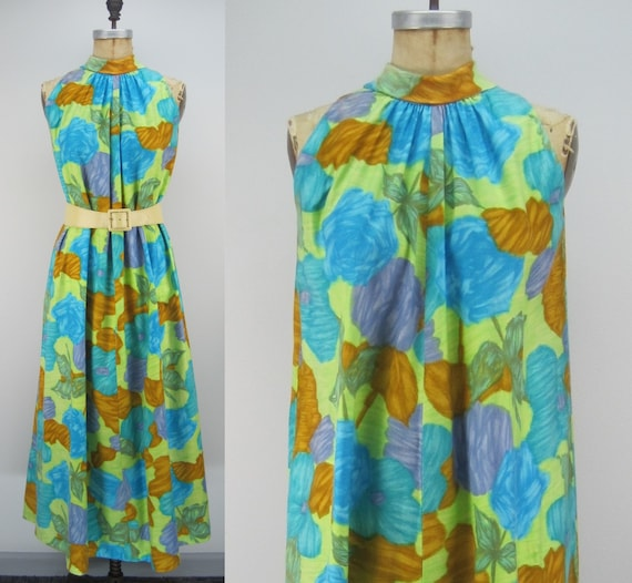 Vintage 60s cotton Hawaiian dress, floral Hawaiia… - image 3