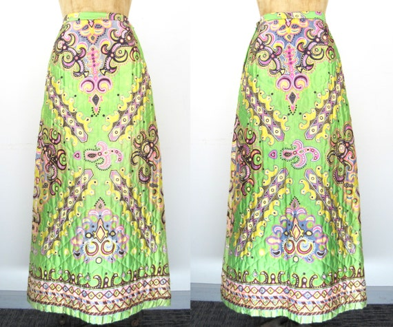 60s quilted maxi skirt, green maxi skirt, hippie s