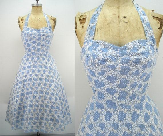 50s blue sundress, Alix of Miami, vlv dress, pinup