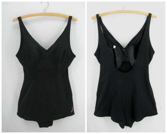 Vintage 50s Jantzen swimsuit, 1950s black swimsuit