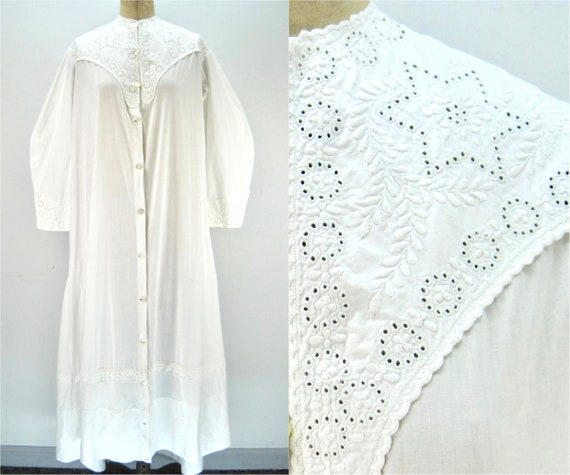 Antique cotton whitework robe, broderie anglaise e
