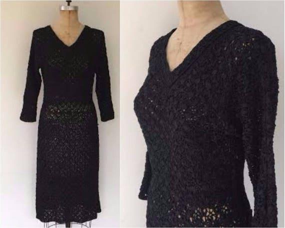 Vintage 50s rayon ribbon crochet dress, black ribb
