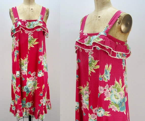 70s sundress, seersucker sundress, hot pink