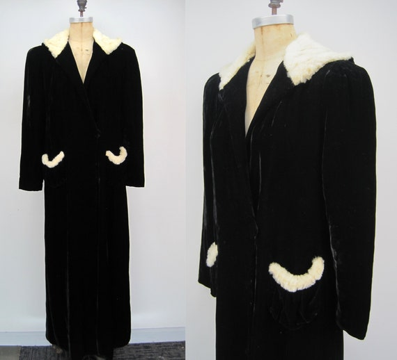 Vintage 40s black rayon velvet hooded cloak, fur t