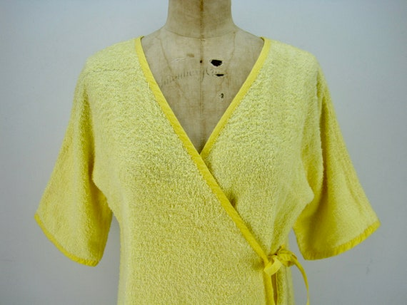 60s yellow cotton terry short wrap robe, beach co… - image 2