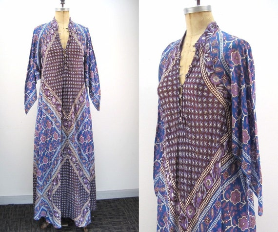 70s Adini sheer cotton caftan with metallic accent