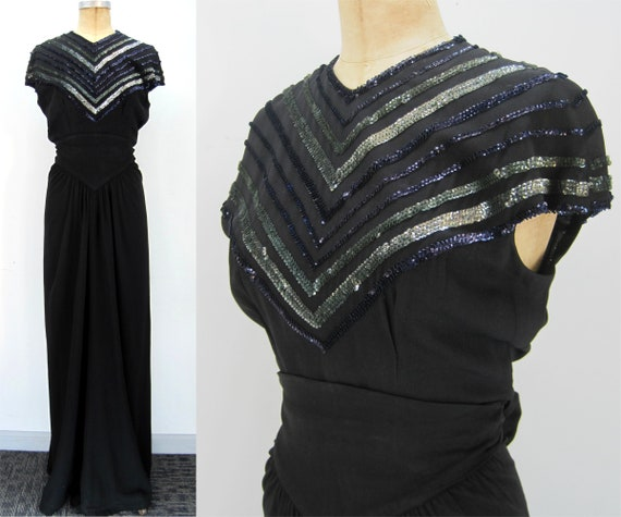 40s evening gown, 40s cocktail dress, sequin gown,