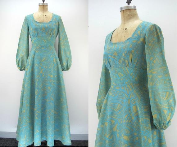 70s maxi dress, Coco California, balloon sleeve dr