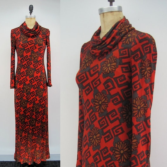 Vintage 70s Bullock's maxi dress, cowl neck maxi d
