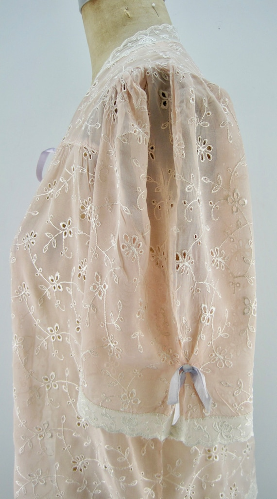 40s rayon bed jacket, peach bed jacket, embroider… - image 2