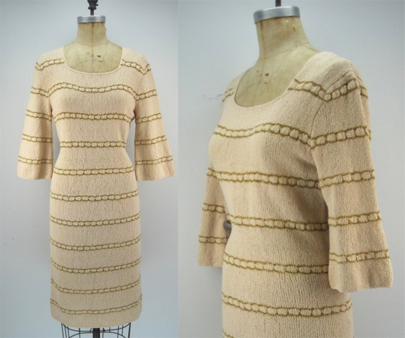 Vintage 60s wiggle sweater dress, cream sweater dr