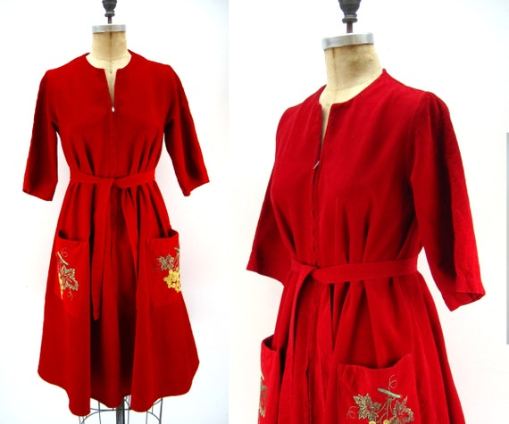 50s 60s cherry red corduroy tent dress, maternity