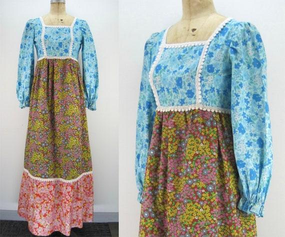 60s/70s flower child maxi dress, hippie dress, cot