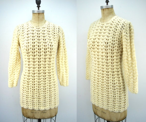 70s wool crochet sweater tunic, 70s mini dress, iv
