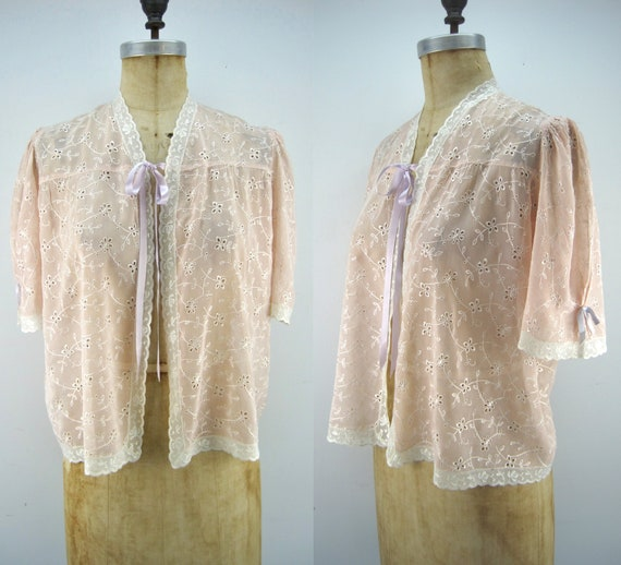 40s rayon bed jacket, peach bed jacket, embroider… - image 1