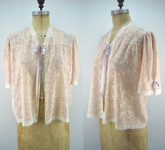 40s rayon bed jacket, peach bed jacket, embroidere
