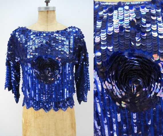 70s 80s sequin top, blue sequins, paillettes, disc