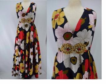 Vintage 70s cotton plisse dress, 70s circle skirt dress, floral maxi dress