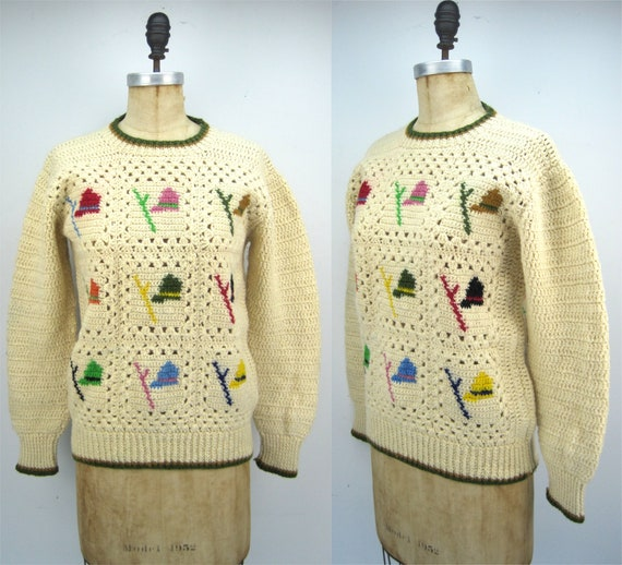 Vintage 70s/80s crochet wool sweater, Irish sweate
