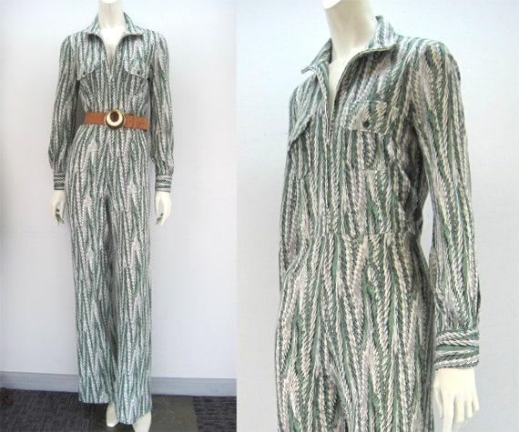 70s DVF jumpsuit, zip front jumpsuit, Diane von Fu