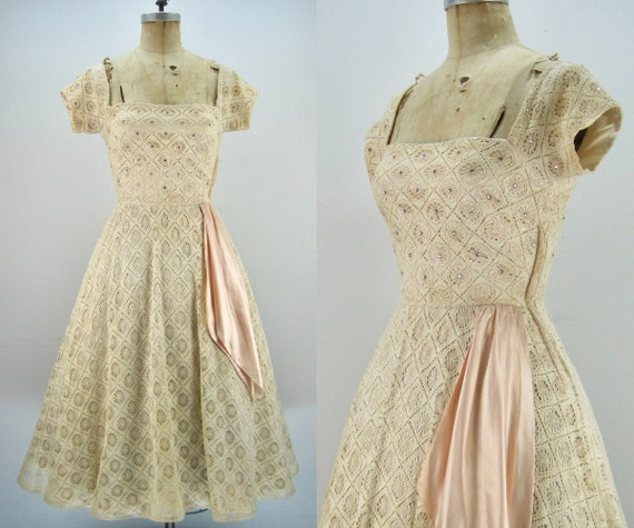 50s spiderweb lace dress, party dress, Junior Acce