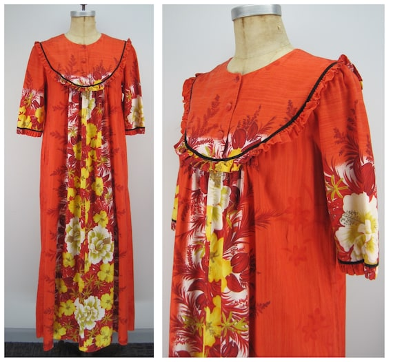 Vintage 60s Reef cotton Hawaiian dress, floral Haw