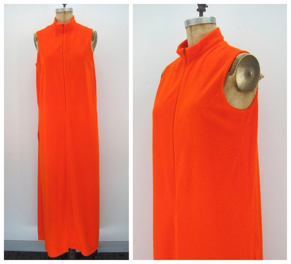 60s Catalina terry lounge dress, cover up, orange
