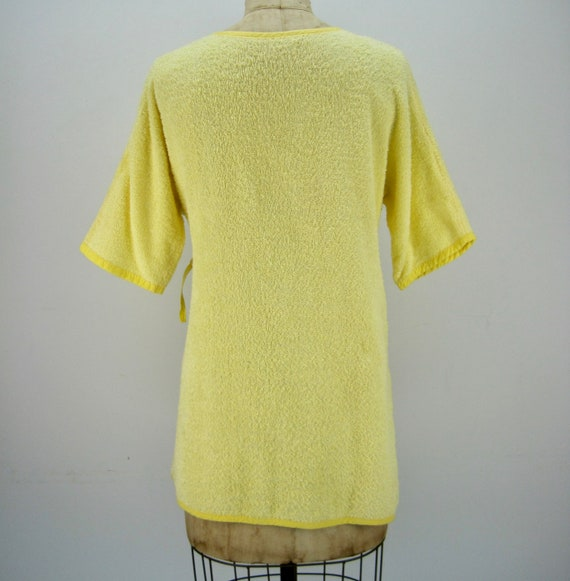 60s yellow cotton terry short wrap robe, beach co… - image 4