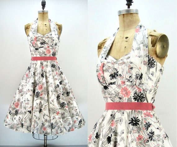 50s halter sundress, floral print, circle skirt