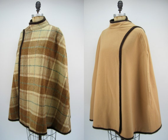 Vintage 60s/70s wool cape, reversible cape, plaid