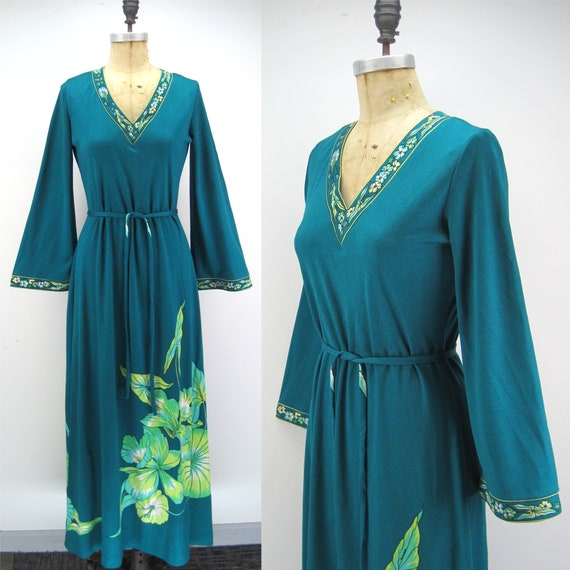 Vintage 70s Maurice knit jersey maxi dress, bell s