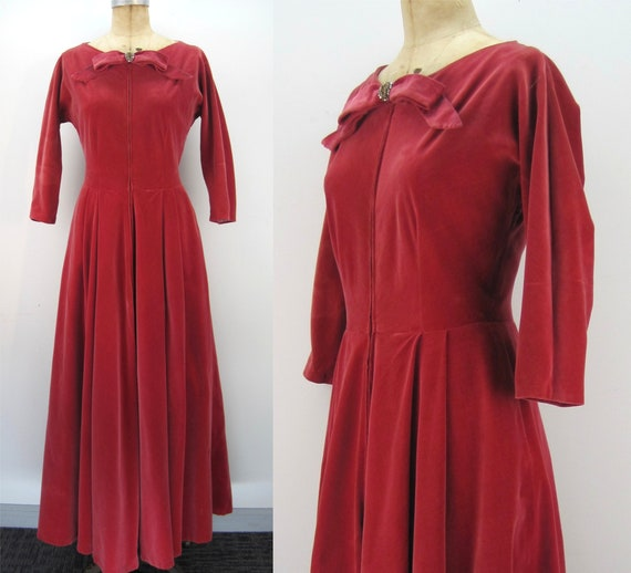 50s red velveteen hostess gown, Manon for Bergdorf