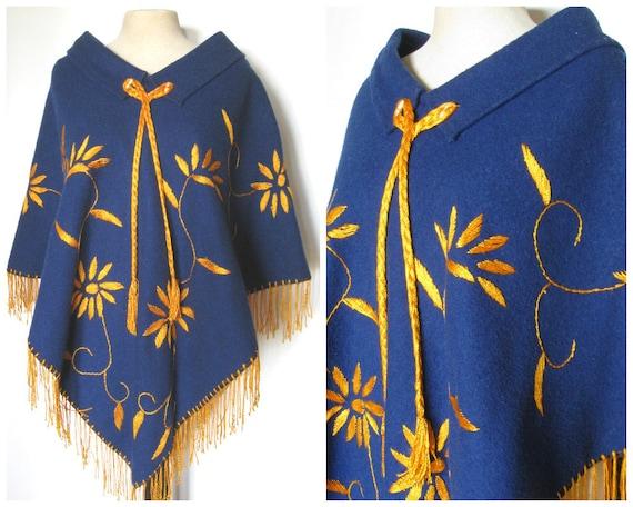 Vintage 70s poncho, 1970s poncho, blue wool poncho