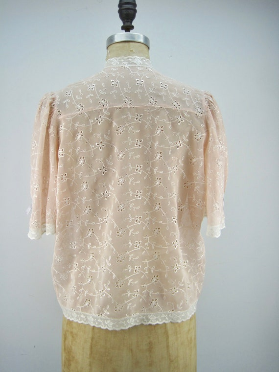 40s rayon bed jacket, peach bed jacket, embroider… - image 3