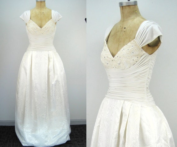 80s white gown, Morton Myles gown, wedding dress,