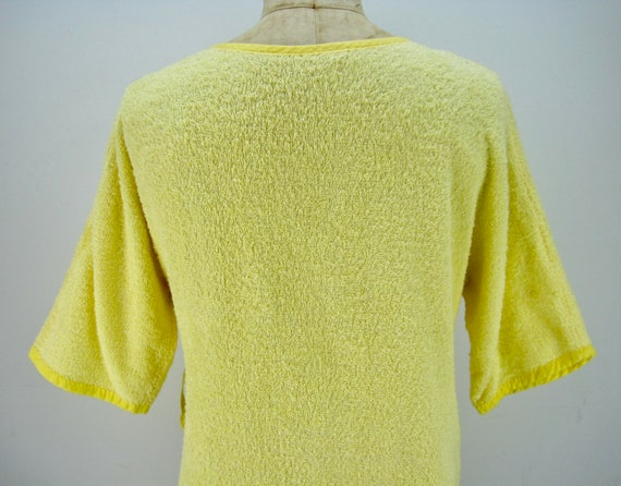 60s yellow cotton terry short wrap robe, beach co… - image 5