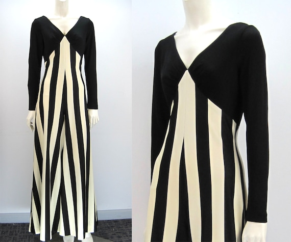 70s palazzo jumpsuit, striped jumpsuit, black and