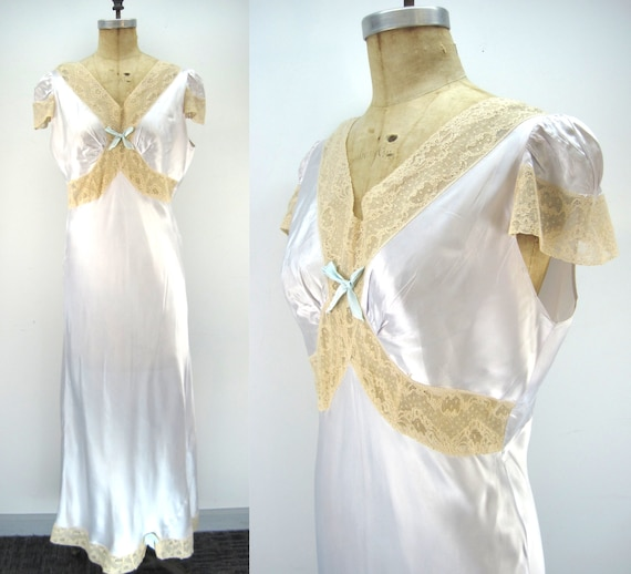 40s bias rayon nightgown, pale blue nightgown