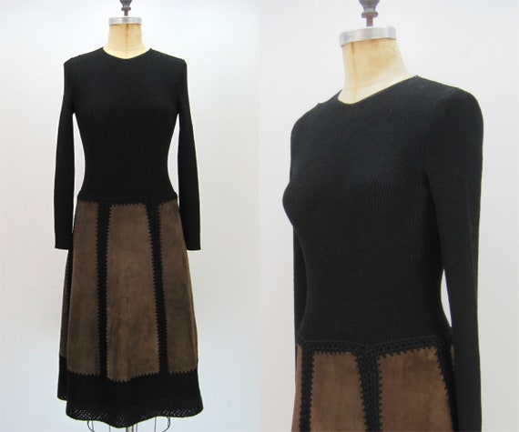 60s 70s Goldworm dress, knit crochet and suede dre