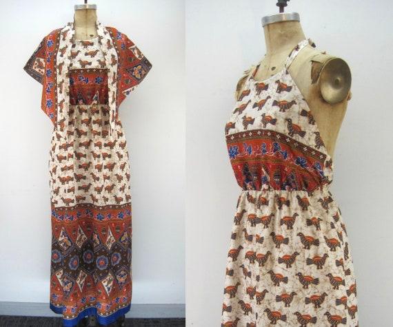 60s/70s border print halter maxi dress, dress and