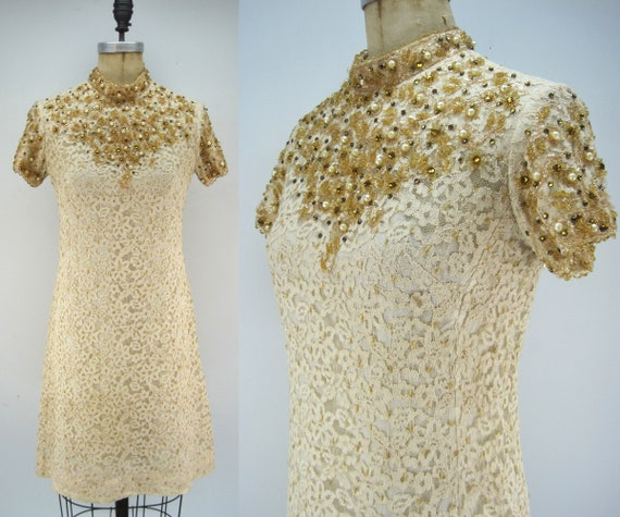 Vintage 60s lace shift dress with beading, spider
