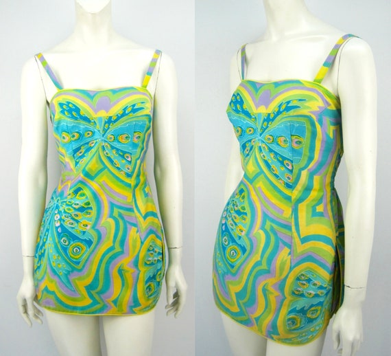 60s Tina Leser sunsuit, playsuit, op art, butterfl